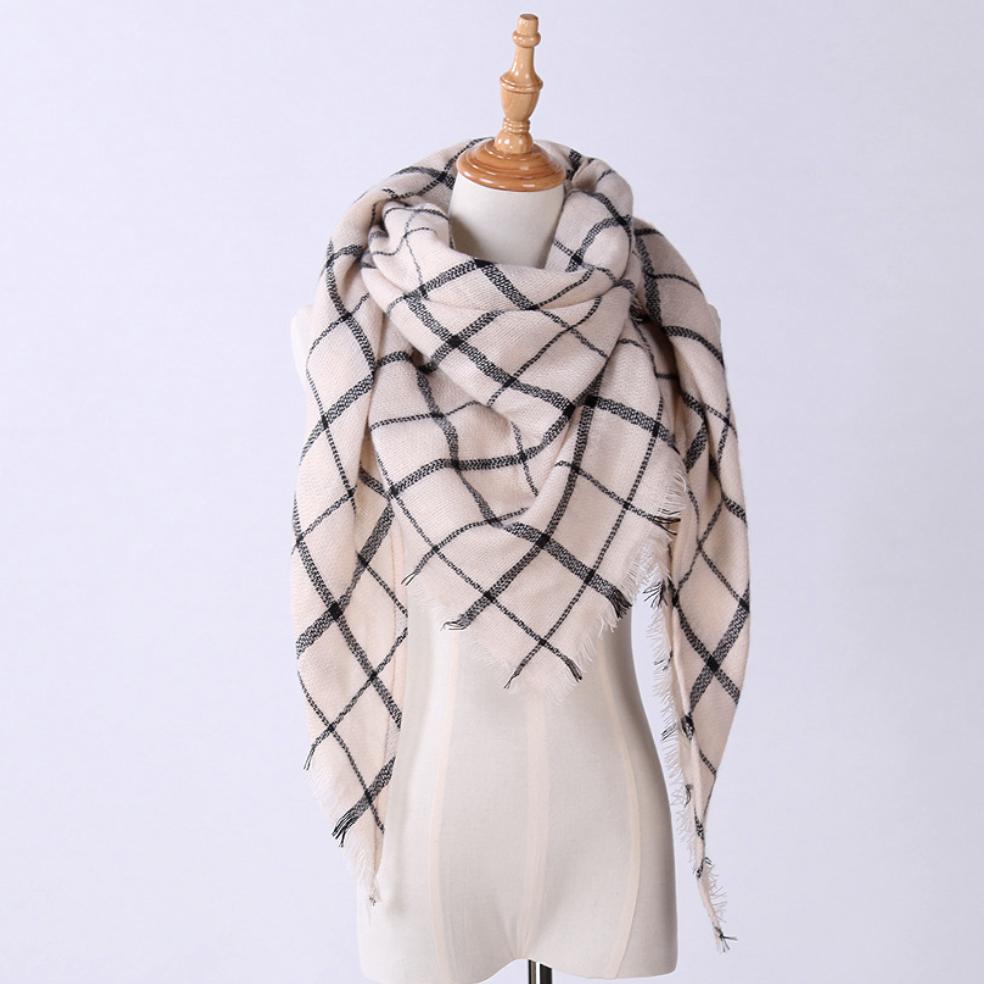 Женский теплый большой шарф платок в клетку 140*140 10 расцветок