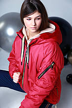 Курточка oversize, плащевка, эко мех, подклад эко мех, красный, Моне, р.146,152