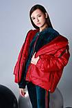 Курточка oversize, плащевка, эко мех, подклад эко мех, красный, Моне, р.146,152, фото 4