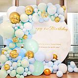 Арка-Гирлянда из Воздушных Шаров Фотозона для Дня Рождения, Свадьбы, Вечеринки, Юбилея, Выпускного Голубая, фото 5