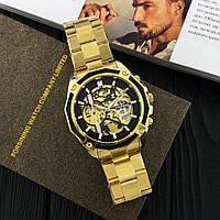 Мужские наручные часы Forsining 8130 Gold-Black+Подарочная коробочка (Оригинал) / Золотой цвет