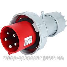 Силовая вилка 5p(3p+N+E) 16А 6h,промышленный силовой разъём 5 полюсов IP67