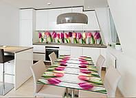 Наклейка на стол Zatarga Букет тюльпанов 600х1200 для домов, квартир, столов, кофейн, кафе