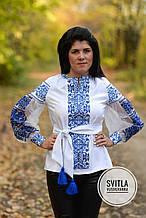 Шикарна жіноча вишита блуза в українському стилі в білому кольорі із блакитною вишивкою «Бохостиль хрестиком»
