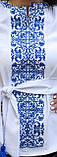 Шикарна жіноча вишита блуза в українському стилі в білому кольорі із блакитною вишивкою «Бохостиль хрестиком», фото 2