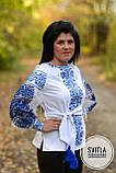 Шикарна жіноча вишита блуза в українському стилі в білому кольорі із блакитною вишивкою «Бохостиль хрестиком», фото 3