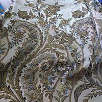Бязь купонная с оливковыми ветками цветов, ширина 220 см