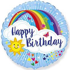 """Фол шар Flexmetal 18"""" Круг ХБ Солнце и радуга Happy Birthday Голубой (ФМ)"""