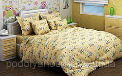 """Комплект в дитяче ліжечко з бязі голд """" Сови на жовтому"""""""