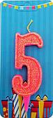 """Свічка Цифра """"5"""" (рожева-блиск) NEW"""