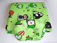"""Пледик на выписку + подушка для новорожденного, """"Совушки на зеленом"""""""