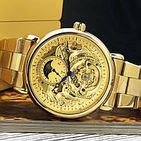 Мужские наручные часы Forsining 8177 All Gold+Подарочная коробочка (Оригинал) / Золотой цвет
