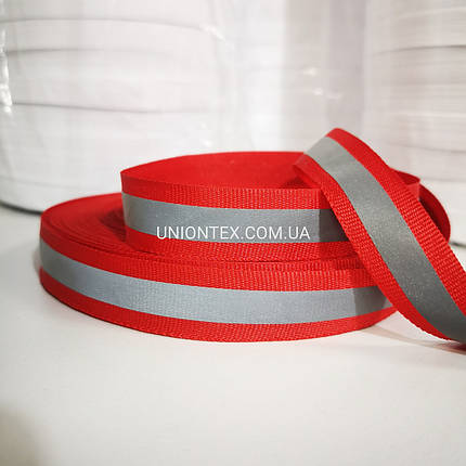 Тесьма светоотражающая красная 2 см, фото 2