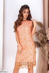 Нарядное прямое платье из кружевной ткани с камнями сваровски раз. 42,44,46