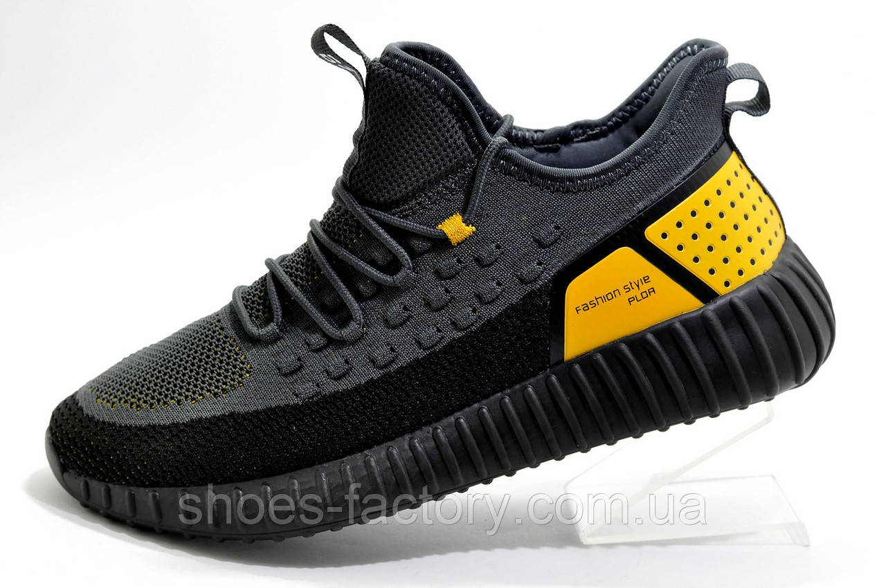 Мужские кроссовки Baas Yeezy Boost, Black\Gray\Orange