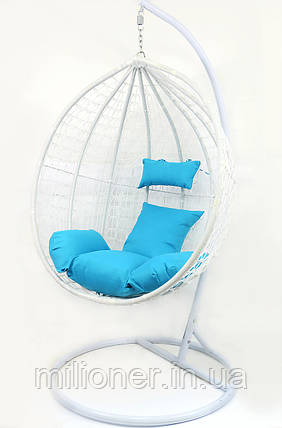 Подвесное кресло-качалка кокон B-183B (бело-голубое), фото 2