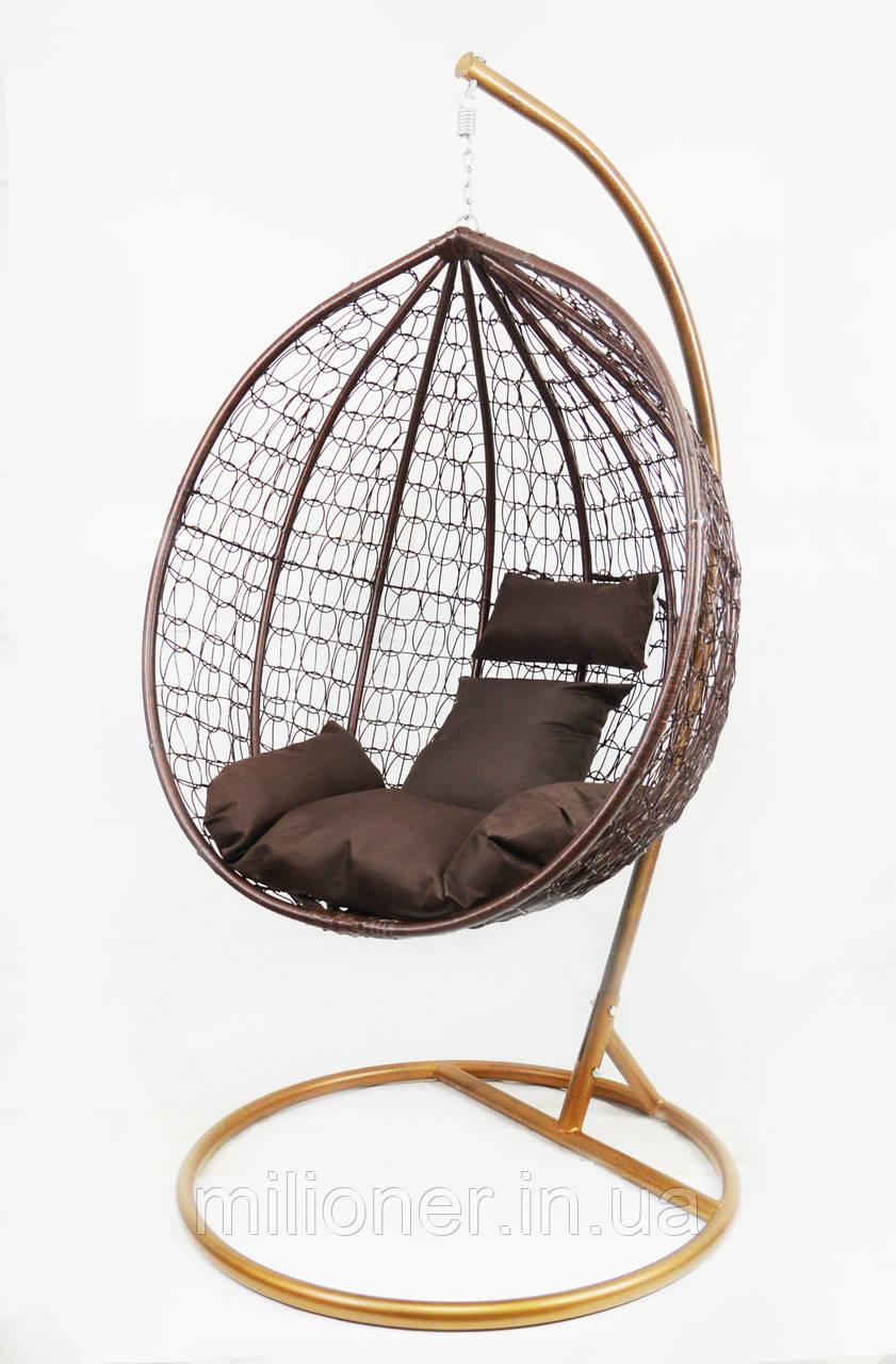 Підвісне крісло-качалка кокон B-183B (коричневе)