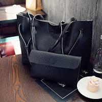 Комплект сумка-шопер і косметичка чорна і сіра