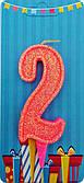 """Свічка Цифра """"2"""" (рожева-блиск) NEW"""
