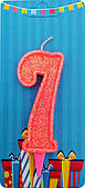 """Свічка Цифра """"7"""" (рожева-блиск) NEW"""