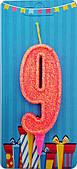 """Свічка Цифра """"9"""" (рожева-блиск) NEW"""
