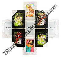Рамка-коллаж черно-белая РОМБ на 8 фото