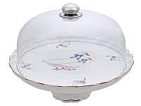 Тортовница фарфоровая с крышкой Lefard Гуси 943-182