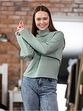 Трикотажный женский свитшот цвет мята модный крой