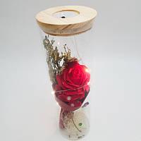 Роза в колбе с LED подсветкой UKC подарок ночник 25 см красная Original