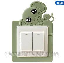 Детская наклейка на стену  (включатель, выключатель, розетку) Зеленый слоненок H03