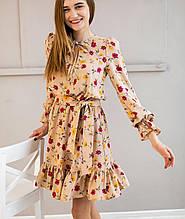 Платье с рюшами  женское весенне в мелкий цветок