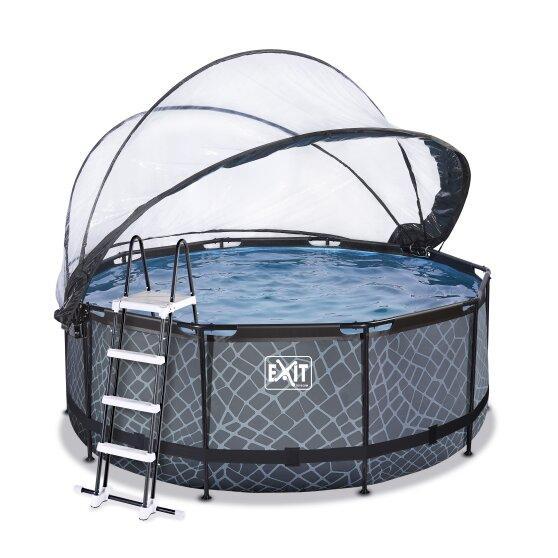 Бассейн круглый с куполом EXIT камень 360х122 см