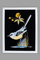 Картина декоративная бархатнаяс вышивкой Птица.