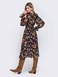 Платье -миди в цветочном принте из шифона, фото 3