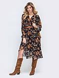Платье -миди в цветочном принте из шифона, фото 2