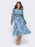 Платье -миди в цветочном принте из шифона, фото 6