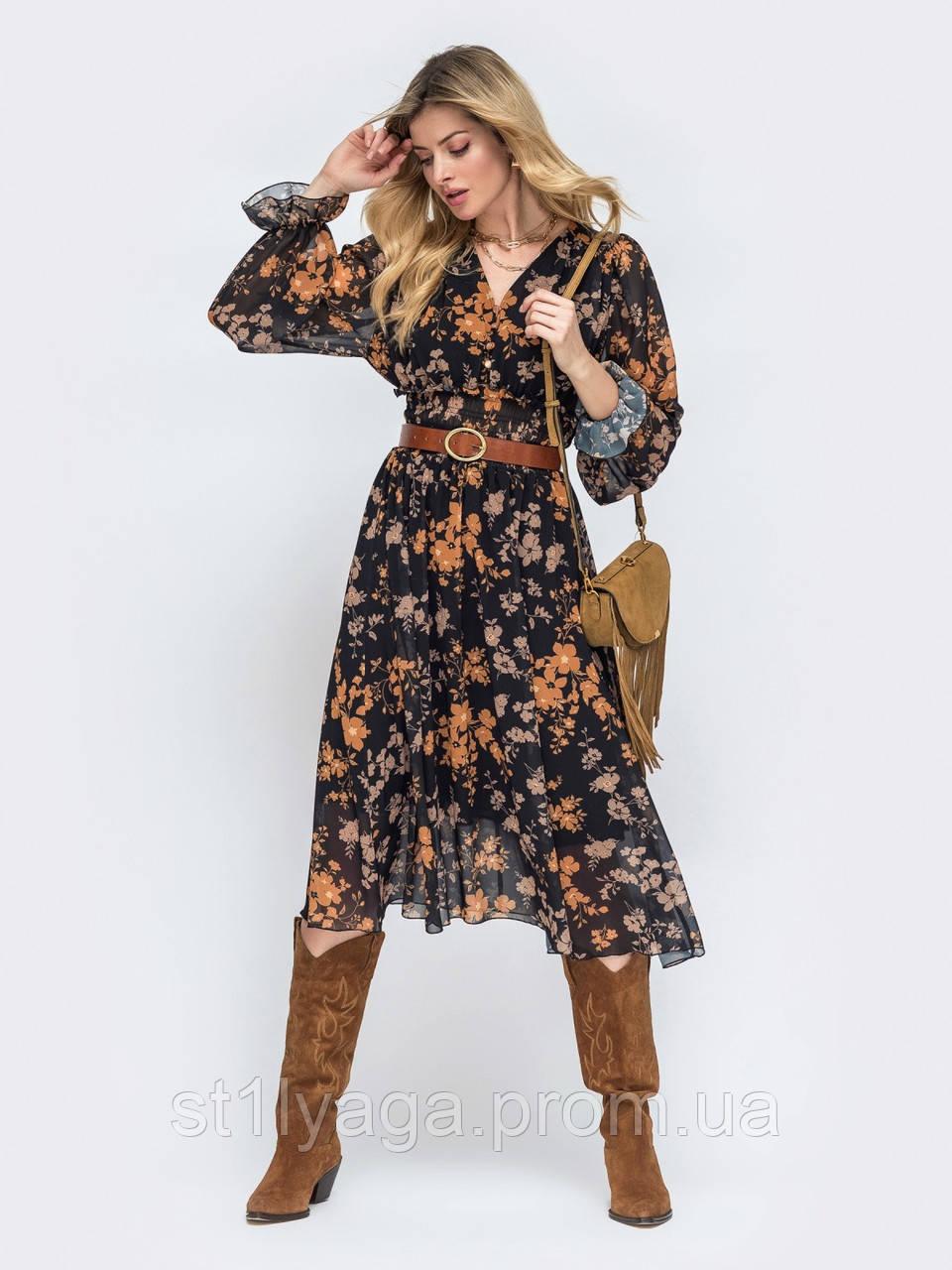 Платье -миди в цветочном принте из шифона