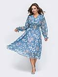 Платье -миди в цветочном принте из шифона, фото 5