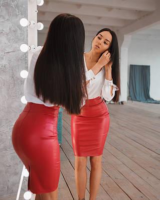 Женская стильная красная юбка-карандашиз экокожи