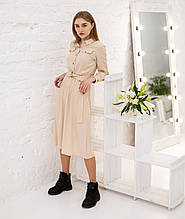 Котоновое весеннее платье цвет бежевый рубашечный фасон