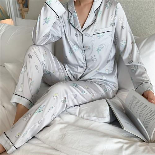 Пижама серая длинный рукав+штаны -326-03