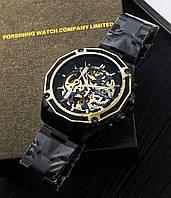 Мужские наручные часы Forsining 8130 Black-Gold+Подарочная коробочка (Оригинал)