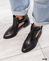 Весенние ботинки открытые черные
