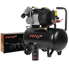Компрессор воздушный Dnipro-M AC-50 V + Набор пневмоинструмента AS-5 + Масло Компрессорное 1.0 л Бесплатная до