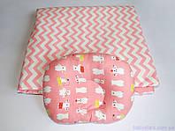 """Плед для новорожденного + подушка, """"Полярные мишки"""""""