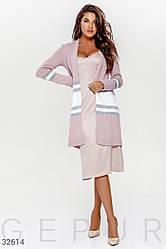 Теплый кардиган женский  розового оттенка