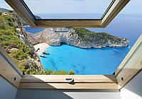 Фотообои 3D море 254x184 см Вид из мансардного окна (10393P4)