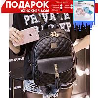 Городской женский рюкзак черный (серый) водонепроницаемый +подарок