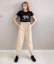 Легкие повседневные брюки-бананы с поясом ткань котон