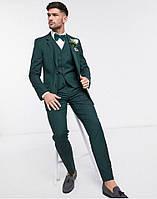 Зеленый, бордо, розовый, голубой и тд приталенный льняной костюм двойка для выпускника. Цвет льна на выбор, фото 1